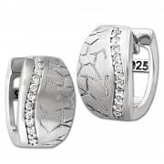 SilberDream Creole Welle Zirkonia weiß 925 Sterling Silber Damen SDO4308W