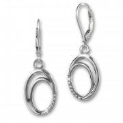SilberDream Ohrhänger Ovale Zirkonia 925 Silber Damen Ohrring SDO4346W