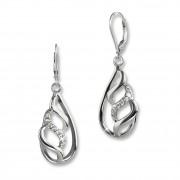 SilberDream Ohrhänger Oval geflochten Zirkonia 925 Silber Damen Ohrring SDO4347W
