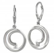 SilberDream Ohrhänger Spirale Zirkonia weiß 925 Sterling Silber Damen SDO4379W