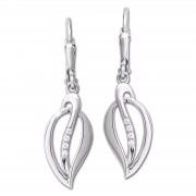 SilberDream Ohrhänger Blatt Zirkonia 925er Silber Damen SDO4388W