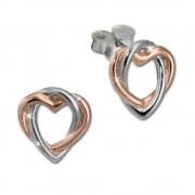 SilberDream Ohrstecker Herz rose vergoldet 925 Silber Damen Ohrringe SDO452E