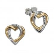 SilberDream Ohrstecker Herz vergoldet 925 Silber Damen Ohrringe SDO452Y
