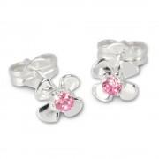 SilberDream Ohrringe Blume rosa 925 Silber Ohrstecker SDO508P
