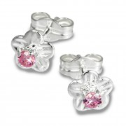 SilberDream Ohrringe Blume Zirkonia rosa 925 Silber Ohrstecker SDO543A