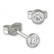 SilberDream Ohrringe Zirkonia weiß 3mm 925 Silber Ohrstecker SDO5533W