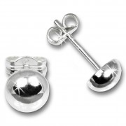 SilberDream Ohrringe Halbkugel 6mm glanz 925 Silber Ohrstecker SDO5556