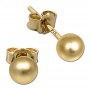 SilberDream Ohrringe Kugel matt 925 Silber vergoldet Ohrstecker SDO597Y5M