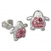 Kinder Ohrring Pinguin rosa Silber Ohrstecker Kinderschmuck TW SDO8004A