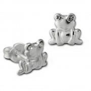 Kinder Ohrring Frosch weiß Silber Ohrstecker Kinderschmuck TW SDO8022W