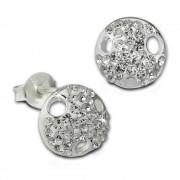 SilberDream Ohrstecker Rund Zirkonia weiß 925er Silber Ohrring SDO8028W