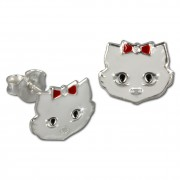 Kinder Ohrring Katze weiß Silber Ohrstecker Kinderschmuck TW SDO8102W