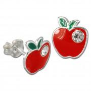 Kinder Ohrring Apfel rot Silber Ohrstecker Kinderschmuck TW SDO8110R