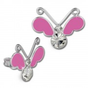 Kinder Ohrring 3D Schmetterling pink Ohrstecker 925 Kinderschmuck TW SDO8121P