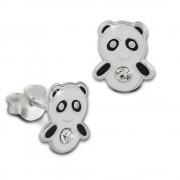 Kinder Ohrring Panda schwarz/weiß Silber Ohrstecker Kinderschmuck TW SDO8125S