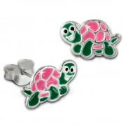 Kinder Ohrring kleine Schildkröte rosa Ohrstecker 925 Kinderschmuck TW SDO8137A