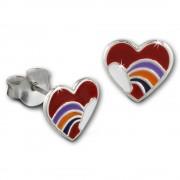 Kinder Ohrring Herz mit Regenbogen Ohrstecker 925 Kinderschmuck TW SDO8143R