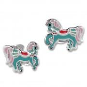 Kinder Ohrring Pferdchen bunt Ohrstecker 925er Silber Kinderschmuck TW SDO8163H