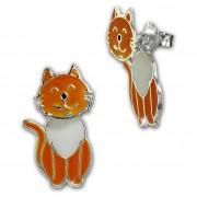 Kinder Ohrstecker Katze Dangle 925 Sterling Silber Kinderschmuck TW SDO8168O