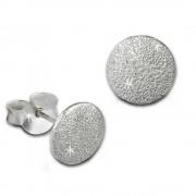 Teenie-Weenie Ohrstecker Kreis gefrostet 925er Silber Ohrring SDO8206J