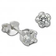 SilberDream Ohrstecker Zirkonia weiß 5mm 925 Silber Ohrring SDO8505W