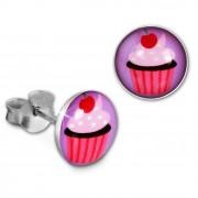 Teenie-Weenie Ohrstecker Logo Print Cupcake Kinder Ohrring 925 Silber SDO85134