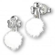 Kinder Ohrring Engel weiße Puschel Ohrstecker 925 Silber TW SDO8552W