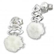 Kinder Ohrring Tannenbaum weiße Puschel Ohrstecker 925 Silber SDO8554W