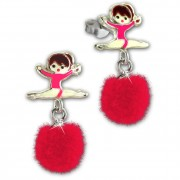 Kinder Ohrring Ballerina Puschel pink Ohrstecker 925 Silber SDO8556P