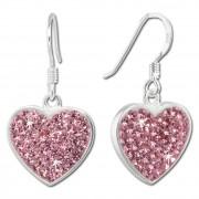 SilberDream Ohrhänger Glitzer Herz Zirkonia rosa 925 Silber SDO8600A
