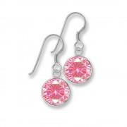 SilberDream Ohrhänger Rondell Zirkonia rosa 925 Silber SDO8602A