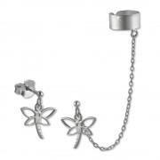 SilberDream Ohrstecker Libelle mit einem Helix Ohr Clip 925 Silber SDO8870