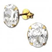 SilberDream Ohrstecker vergoldet Oval weiß 925er Ohrring SDO9139YW