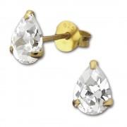 SilberDream Ohrstecker vergoldet Tropfen weiß 925er Ohrring SDO9147YW