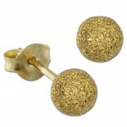 SilberDream Ohrstecker vergoldet Kugel 5mm diamantiert 925er Ohrring SDO9515Y
