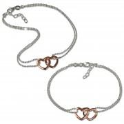 SilberDream Schmuckset Doppelherz Armband & Fußkette rose 925 Silber SDS2200T
