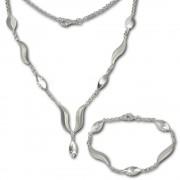 SilberDream Schmuck Set Wave Collier & Armband 925 Silber SDS410