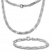 SilberDream Schmuck Set Blütenblatt Collier & Armband Damen 925 Silber SDS428