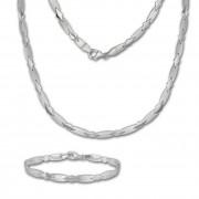 SilberDream Schmuck Set Muster Collier & Armband Damen 925 Silber SDS437J