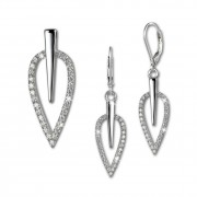 SilberDream Schmuck Set Anhänger und Ohrringe Blatt Zirkonia Silber SDS4902W