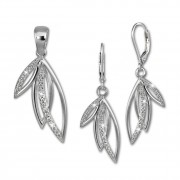 SilberDream Schmuck Set Anhänger und Ohrringe Blätter Zirkonia Silber SDS4904W