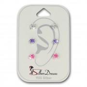 SilberDream Ohrstecker 3er Zirkonia weiß, lila, rosa 925 Silber Ohrring SDS808