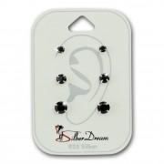 SilberDream Ohrstecker 3er Set Zirkonia schwarz 925 Silber Ohrring SDS812S