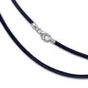 SilberDream Leder Armband 21cm blau 2mm für Charms SML7221