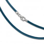 SilberDream Leder Kette 45cm türkis 2mm für Charms SML7545