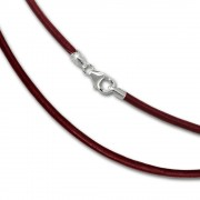 SilberDream Leder Kette 45cm rot 2mm für Charms SML7645