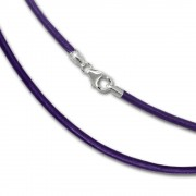 SilberDream Leder Armband 19cm lila 2mm für Charms SML7719