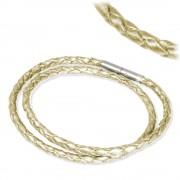 IMPPAC Leder Armband geflochten perlmutt doppelt SMLA4236