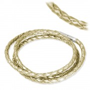 IMPPAC Leder Armband geflochten perlmutt dreifach SMLA4357