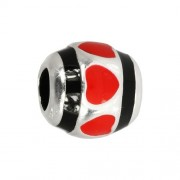 IMPPAC 925 Bead Emaille Kugel Herz rot European Beads SMQ626R